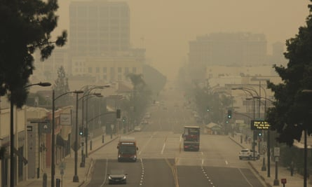 Smoke from wildfires fills the skies in Pasadena, California on September 12.