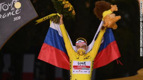 After winning the 107th edition of the Tour de France cycling race, Slovenia's Tadez Pogacar wore the leader's yellow jersey.