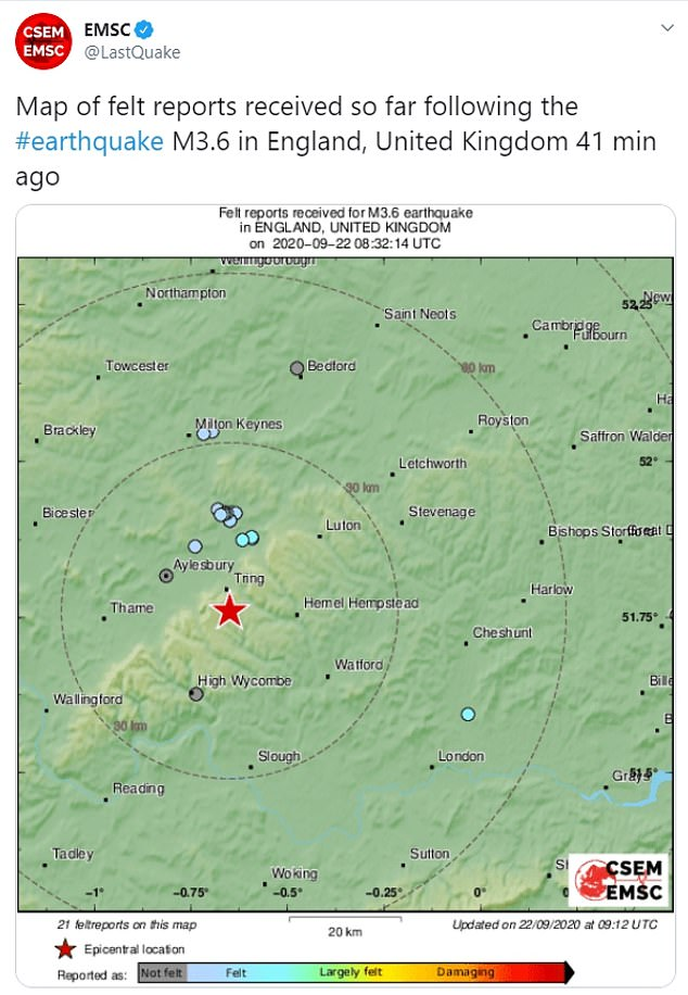 The Independent Scientific Organization, EMSC, reported the quake measuring about 3.6 on the Richter scale and a little southwest, near the village of Tring.