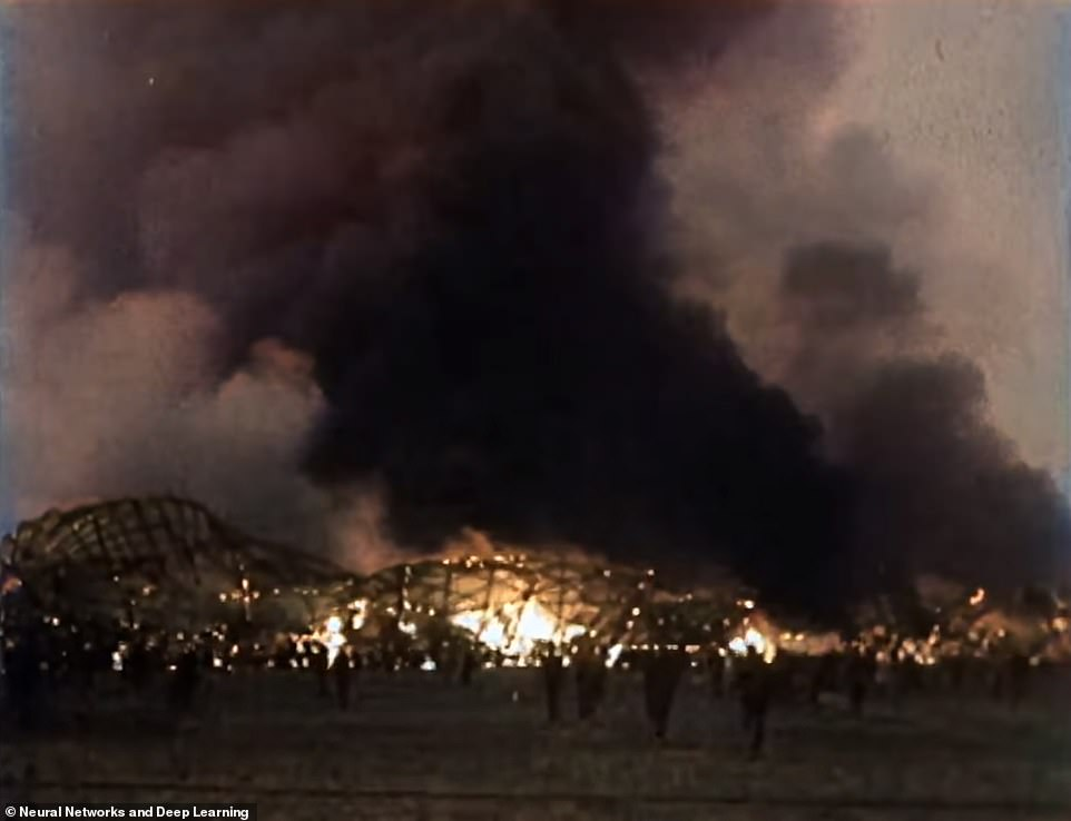 Werner Gustav Dohner was the last survivor of the Hindenburg disaster before his death in November 2019.  Picture: Firefighters and witnesses burned at Hindenburg
