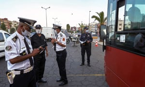 Moroccan police are investigating to see if a bus allows the number of passengers at a checkpoint in Casablanca, Morocco, on Monday, September 21, 2020.