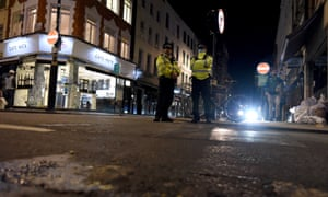 A police patrol in Soho, central London on September 24, 2020, the first day of the new past for pubs and bars.