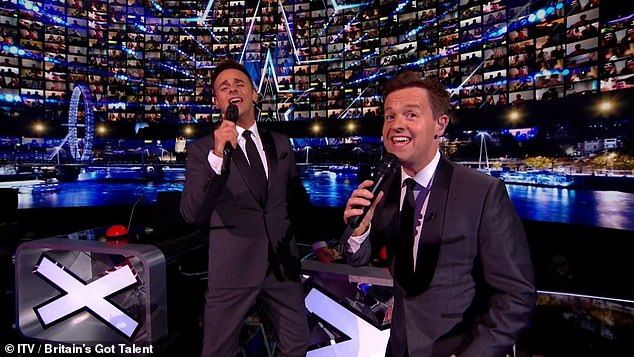 Hitting the right notes: Presentations Anti McPartlin and Declan Donnelly are set to make their debut this weekend with a high-octane musical number in the UK's Got Talent semifinals.