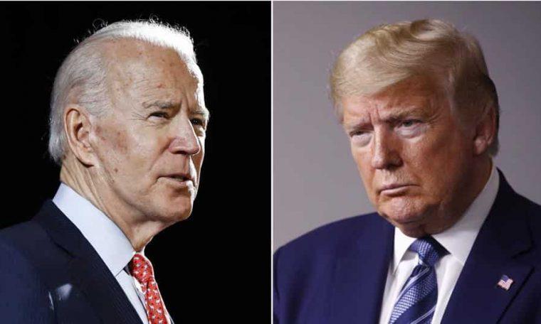 Former US vice president Joe Biden (left) and President Donald Trump