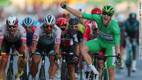Team Decinink Rider Ireland's Sam Bennett takes the final leg of the 107th edition of the Tour de France at the Champs Elysees to confirm the victory of his green jersey classification.