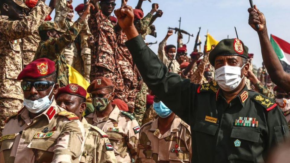 Sudan's General Burhan (R), who heads the Transformation Council, is among the officials who wield real power in Sudan.