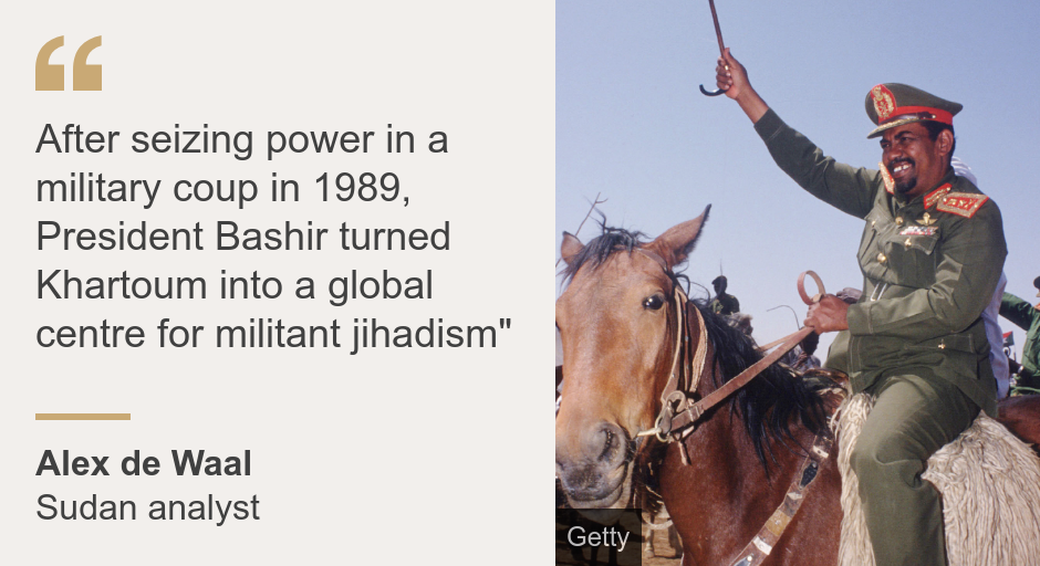 """""""After seizing power on a military coup in 1989, President Bashir turned Khartoum into a global center of terrorist jihadism."""""""", Source: Alex de Wall, Source Description: Sudan Analyst, Image: Sudanese Prime Minister Omar al-Bashir welcoming a horse to supporters in 1992"""