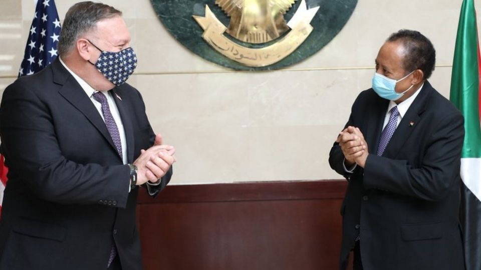 US Secretary of State Mike Pompeo traveled to Khartoum in August to offer a deal to Sudanese Prime Minister Hamdok.