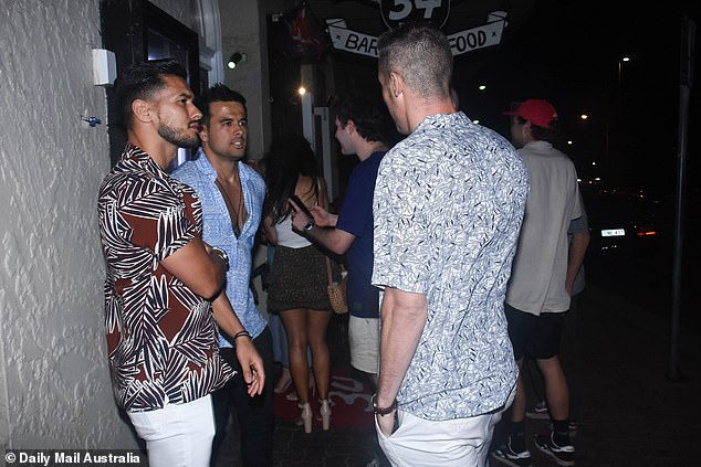Reconnected: On Sunday, Pascal was spotted greeting fellow bachelorette contestants at the popular Bondi Beach hotspot 34 in Bondi Beach, Sydney. Pictured LR: Rudy L. Kholti, Shannon Crocker and Pascal (right)