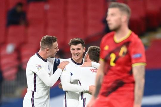 Mason Mount celebrates his goal on England's victory over Belgium