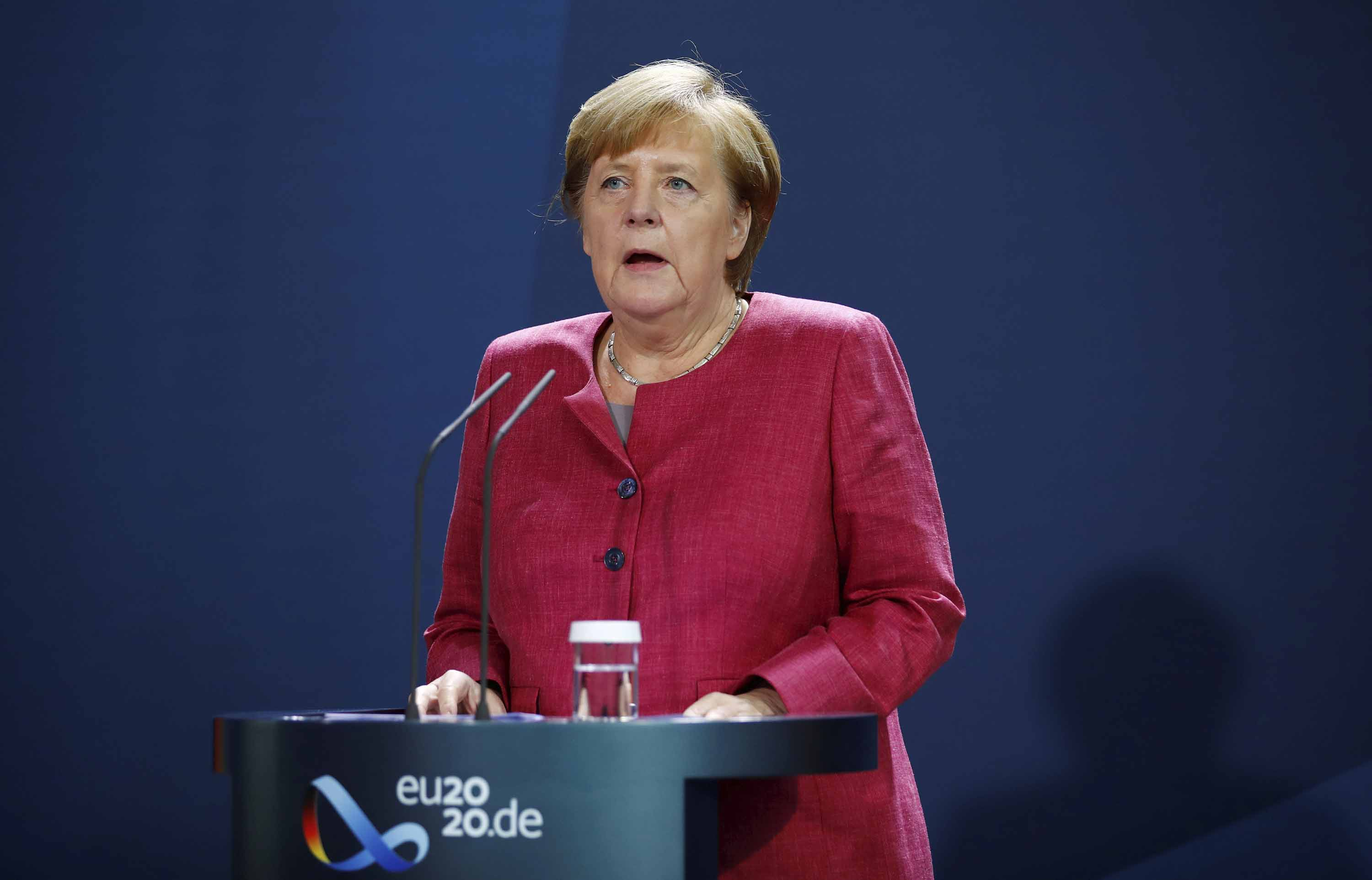 German Chancellor Angela Merkel issued a media statement in Berlin on October 9 after a video conference with German city mayors about the spread of the coronavirus in German cities.