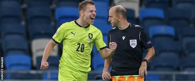 Matej Vidra of the Czech Republic celebrates a goal against Israel