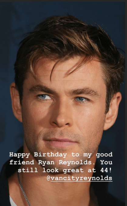 Rob McLaughlin's birthday post to Ren Reynolds, with a photo of Chris Hemsworth