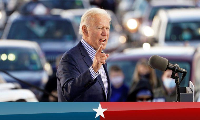 U.S. Democratic presidential candidate Joe Biden speaks during a drive-in campaign event at Dallas High School in Dallas, Pennsylvania, U.S., October 24, 2020