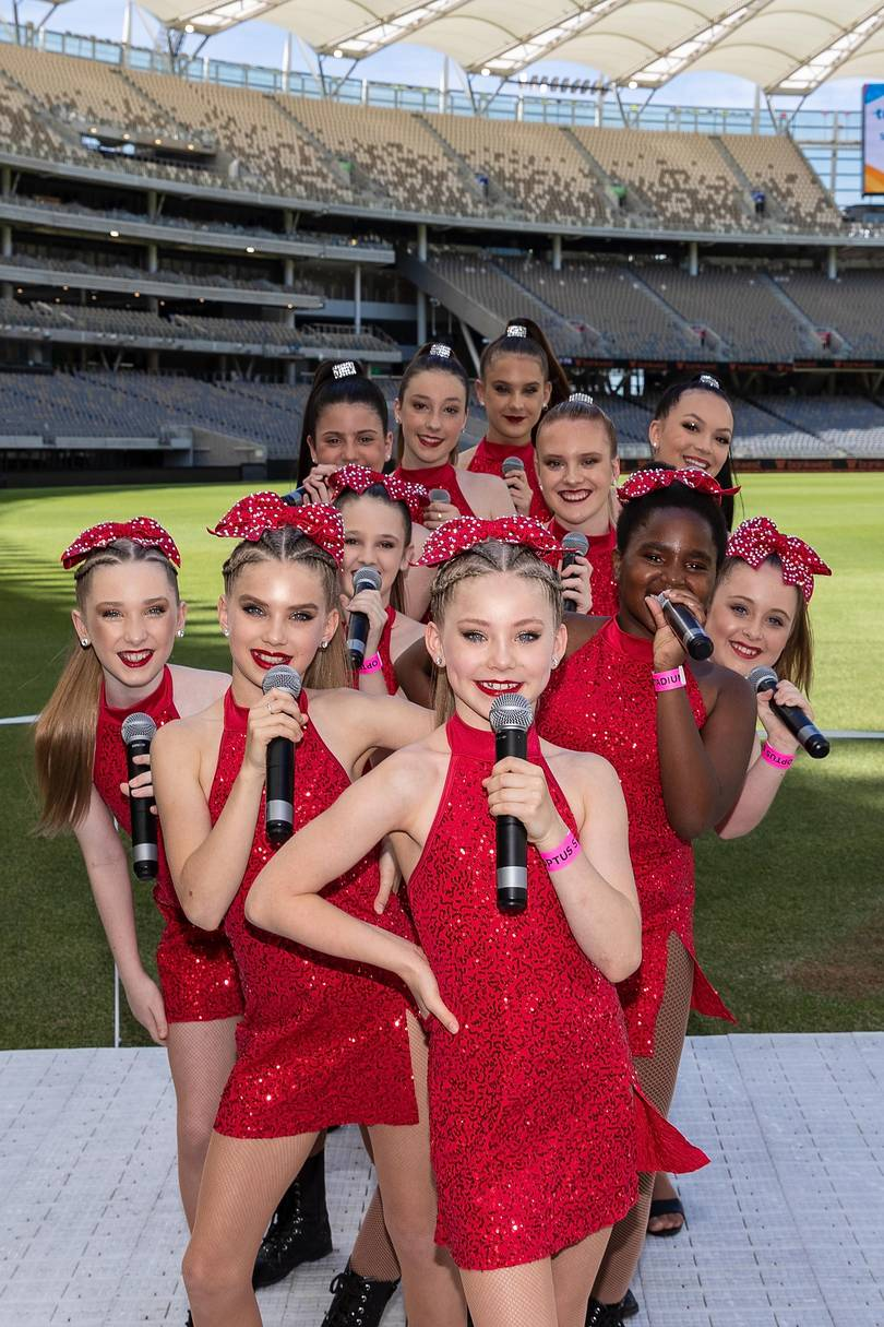 Picture (front) Maize Lewis-Reese and class act performers pose before taking to the stage at the Telithon Family Festival at Optus Stadium.