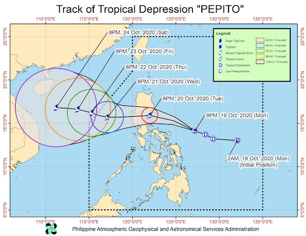 Map of tropical depression pepto