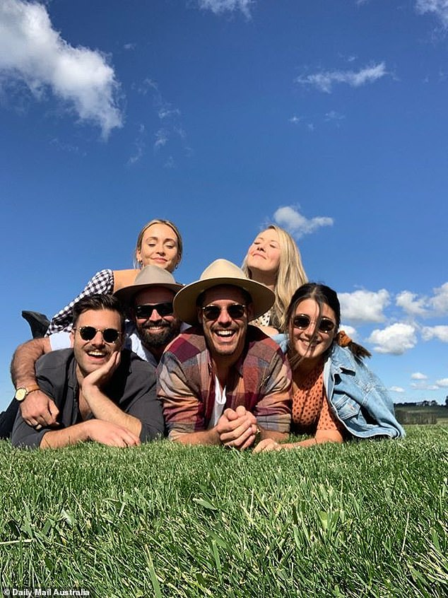 It's not Ellie or Becky Miles! Pascal Wallace, a 33-year-old (center) bachelorette, could not wipe a smile from his face as he enjoyed a week in the yard with his close friends in Orange.