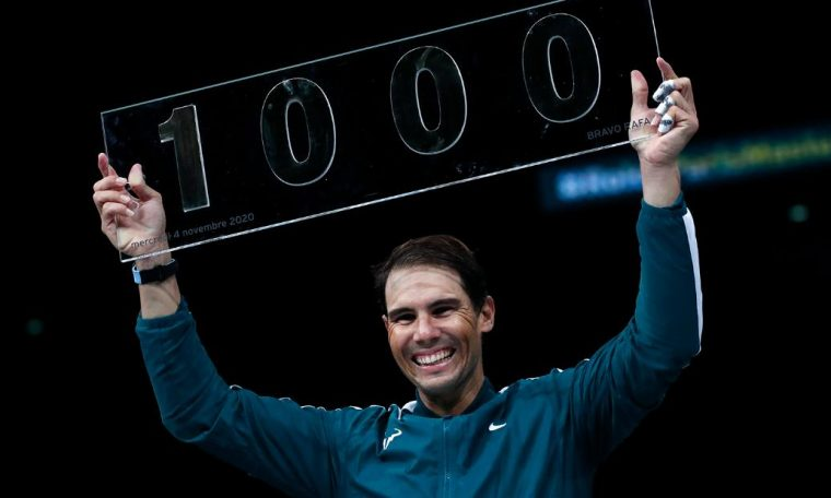 Rafael Nadal became the fourth man to win 1,000 ATP Tour matches