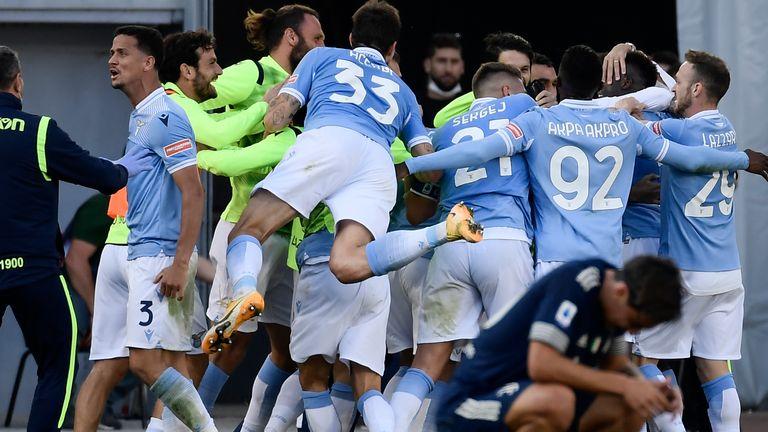 Lazio celebrates his late draw against Juventus