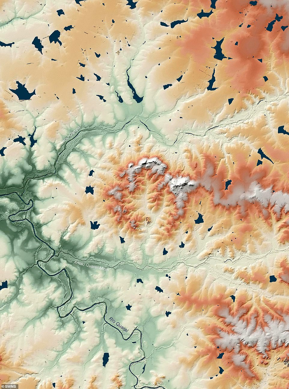 The measurements helped them build a digital terrain model of every well-known crater, including the Manicogan Crater in Canada and the Cerro dar Jaro in Brazil (pictured).