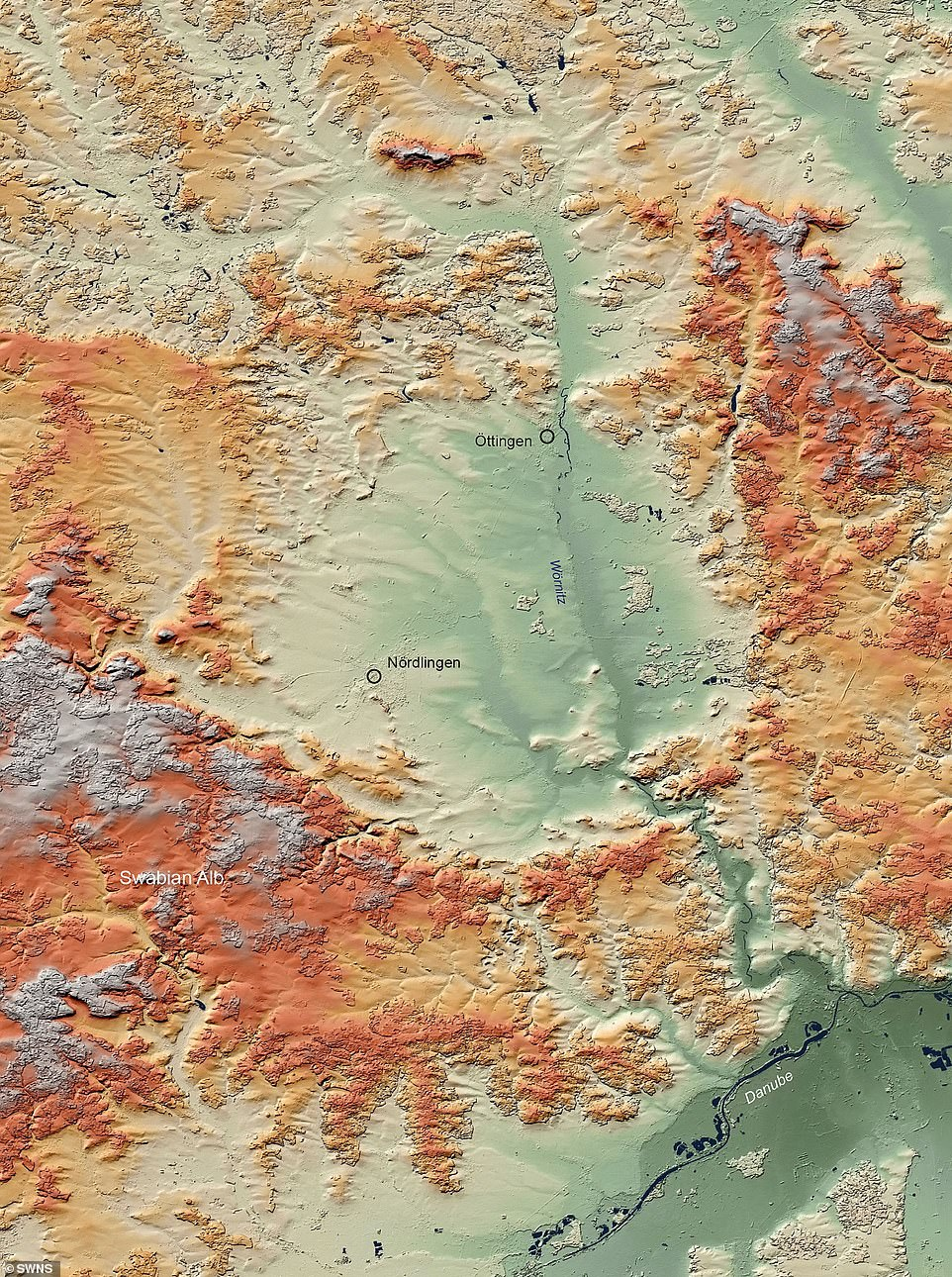 Most crusts, such as those in Germany, live a few thousand years before the ridge (pictured) is filled or damaged, and then can only be identified by the unique changes in the Earth's minerals from the shock wave caused by the impact.