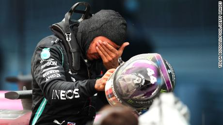 An emotional Hamilton after the race. He later said he would probably celebrate with some ministron soup and wine.