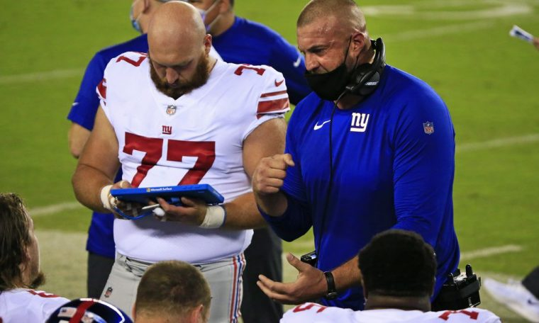 The New York Giants won the O.L.  Coach Mark Colombo fired