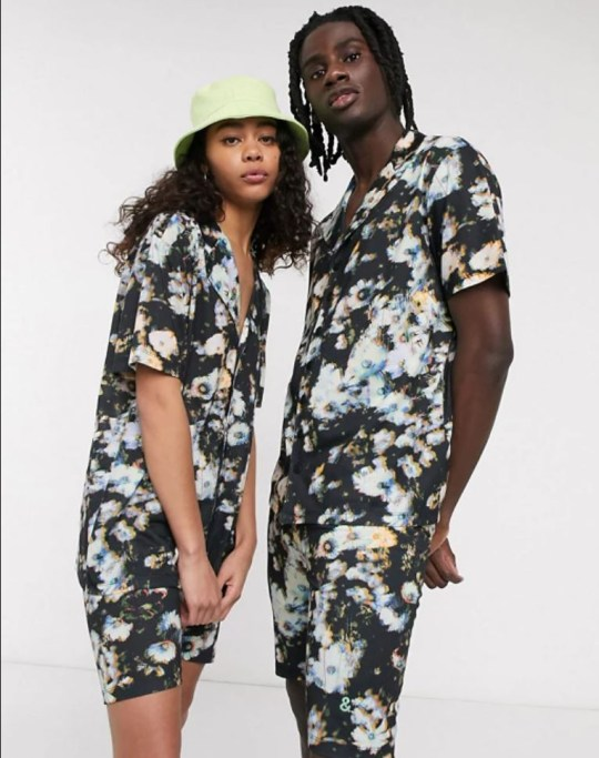 Men and ASs model gender neutral fashion through ASOS, floral shorts and shirts.