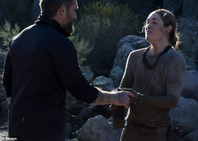 Game over: An upset Erin burst into tears and left SAS Australia on Monday after being pushed beyond her limits.  Picture with Chief Instructor Ant Middleton