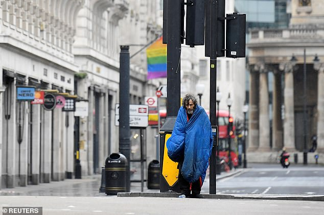 Homeless charities say that even before the Kovid peak hit - many families were badly affected by the coronavirus crisis.  Picture: A homeless man in London in April