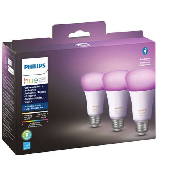 Philips Who White & Color Ambience A19 Blu Bluetooth Tooth LED Smart Bulb (Set of 3)