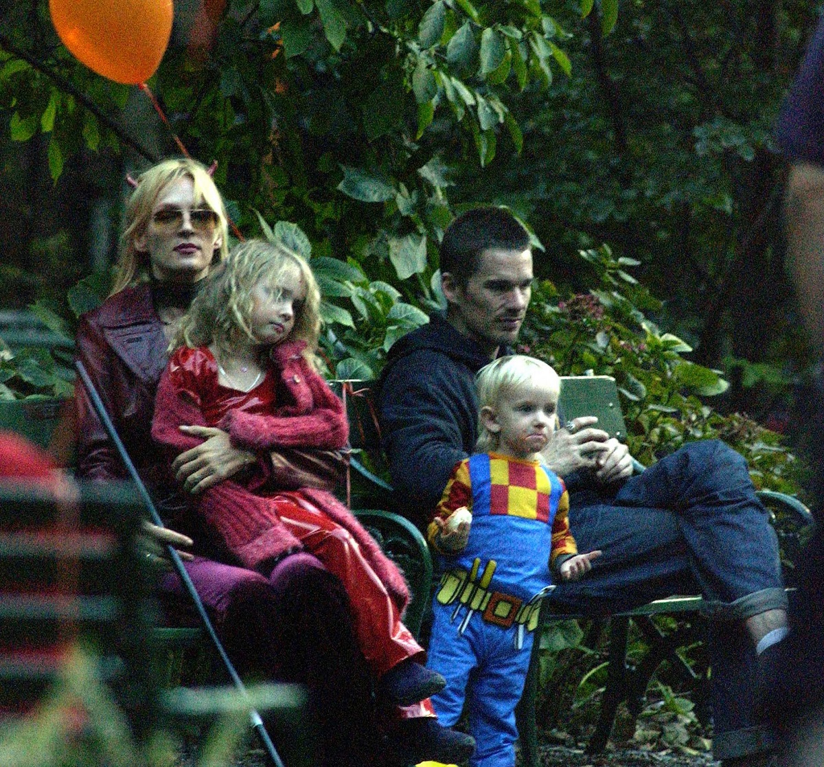 Ethan Hawk visits Uma Thurman and her children for Halloween on October 1, 2003 in New York City.