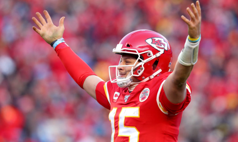 Kansas City Chiefs quarterback Patrick Mahomes celebrates his AFC Championship game victory.