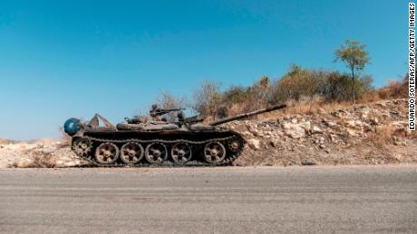 On November 22, 2020, a damaged tank was abandoned on a road near Humera, Ethiopia.