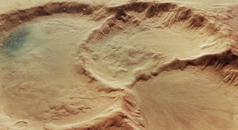 Unbelievable images show a mysterious triple crater on Mars.