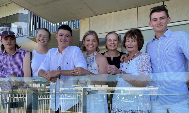 Members of the Bayliss family honoured former Ipswich Turf Club clerk of the course Bob, who passed away on Tuesday. Pictured are Will Murphy, Georgia Langlands, Jake Bayliss, Sharon Howes, Courtney Langlands, Hazel Bayliss and Regan Bayliss.