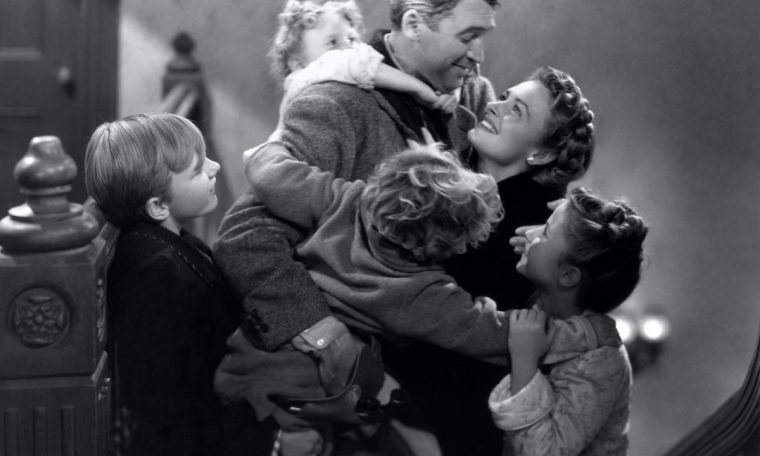 James Stewart, Donna Reed, Carol Coombs, Jimmy Hawkins, Larry Simms, and Karolyn Grimes in