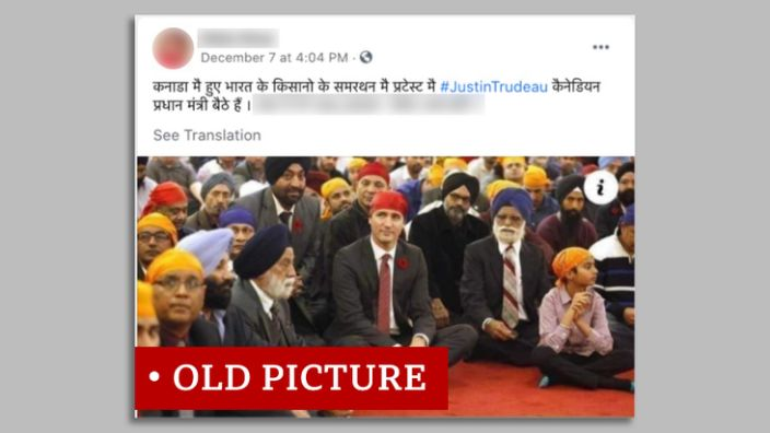 Justin Trudeau's screen grab label with Sikhs & quot;  Older picture & quot;