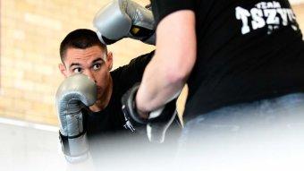 Tim Shizu training at the Siju Boxing Academy in Rockdale, Simney.