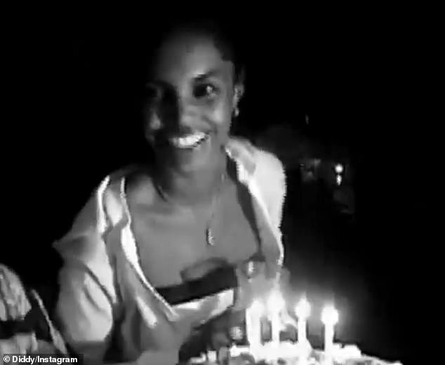 Beauty: Model-actress blowing birthday candles in clip