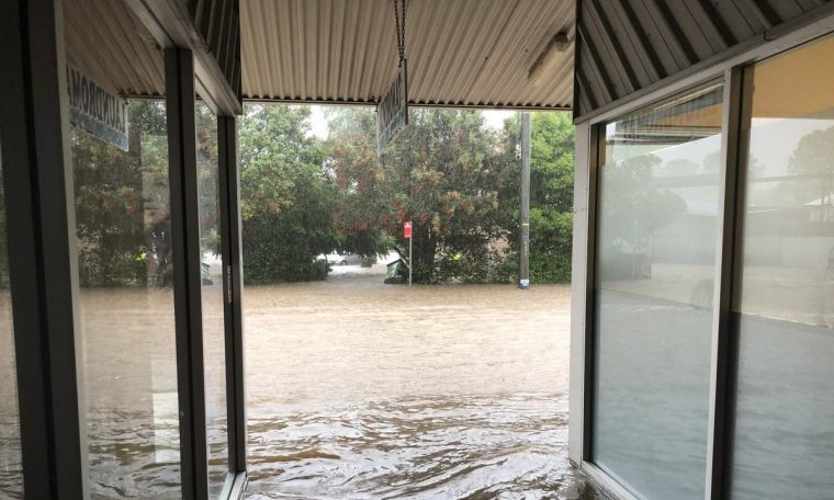 Flash flooding on Wyrallah Rd, East Lismore.