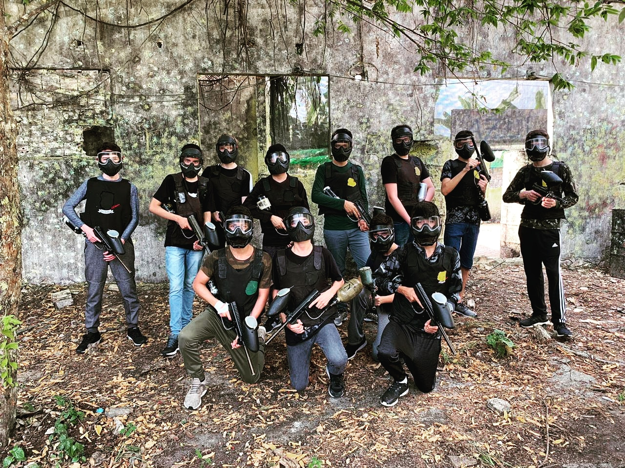 Physician group before a match at Paintball Arena
