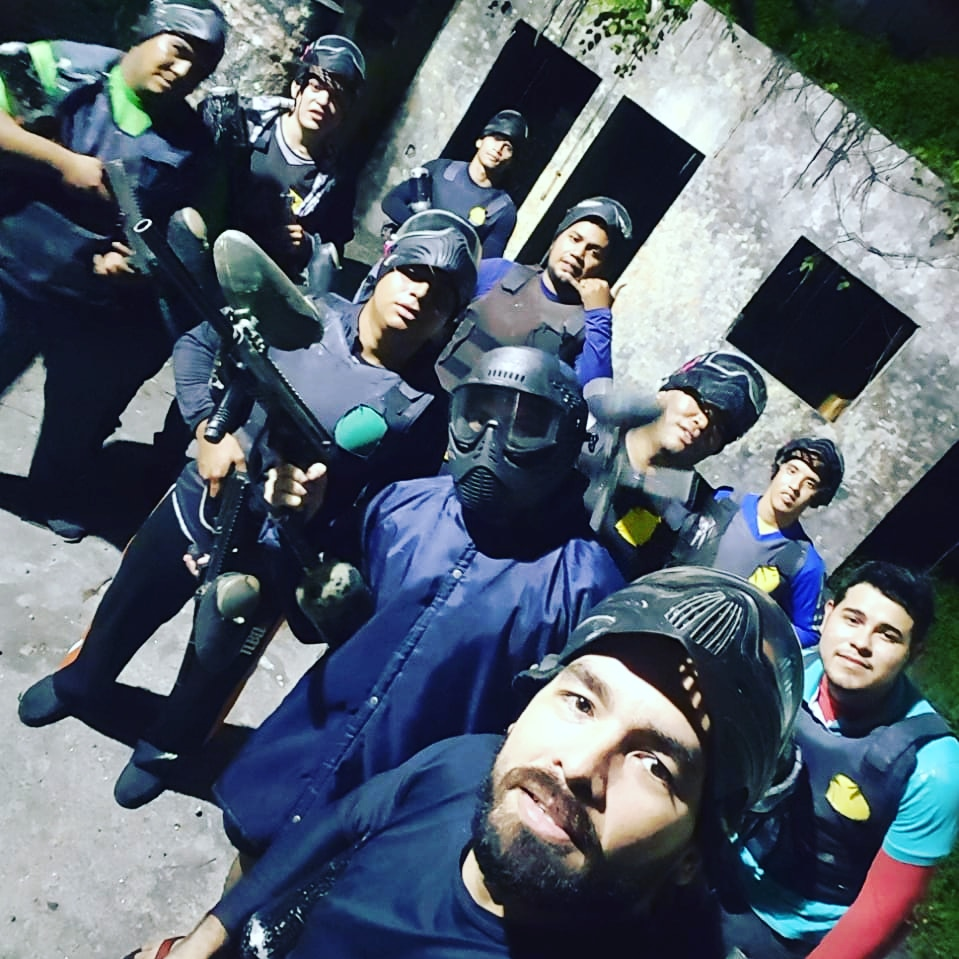 Anderson and his team in a paintball match