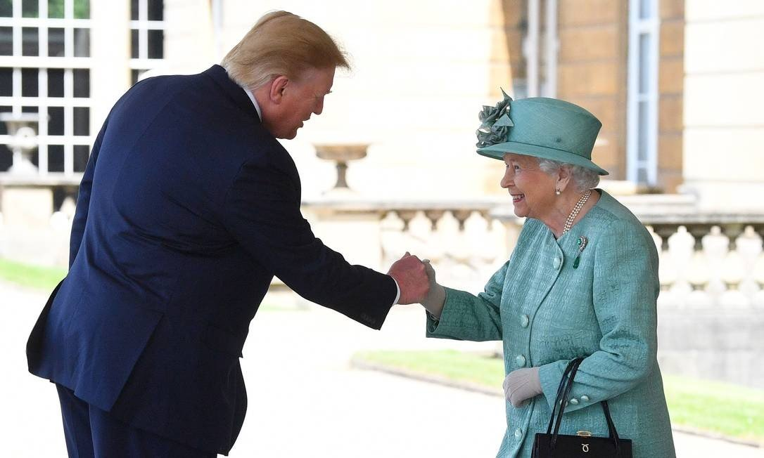 On an official visit to England, President Donald Trump was received at Buckingham Palace by Queen Elizabeth II, the Mayor of London, Sadiq Khan