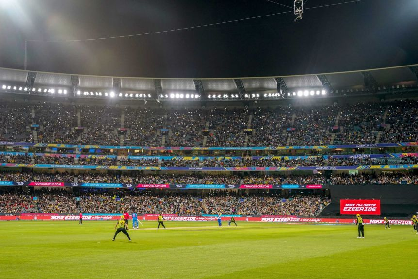 The MCG crowd is seen playing in the final of the Women's Twenty20 World Cup between Australia and India.