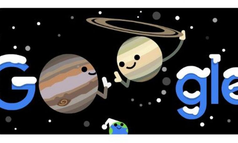 Google Doodle represents the vast combination of Mercury and Saturn