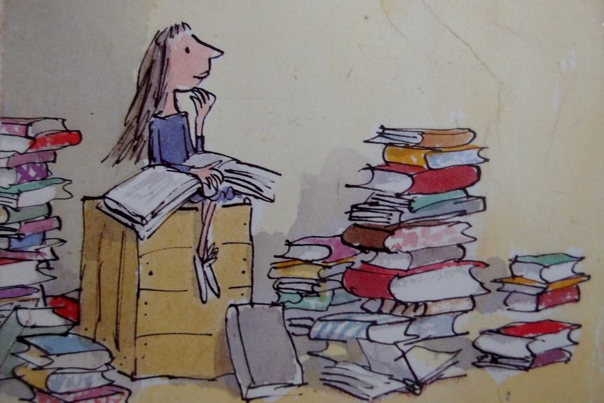 An example by Roland Dahl's Quentin Blake of Matilda
