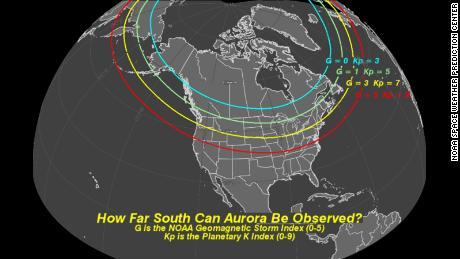 The NOAA's Geomagnetic Storm Index measures the intensity of solar activity and how far south the Aurora Boralis can be seen.