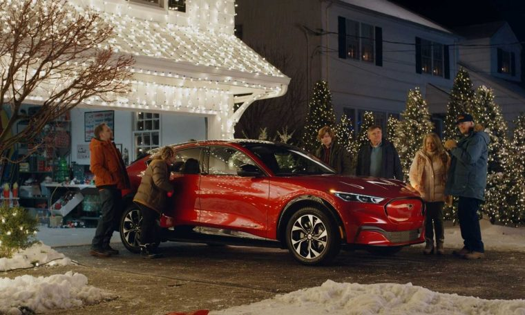 The Ford Mustang Mach-E is featured in a commercial that recreates the Frostrated Christmas holiday