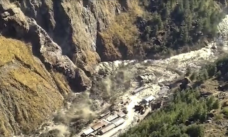 Flood left India after dam break from glacier that broke in Himalayas